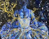 Ballet tutu acrylic painting - Blue Ballet