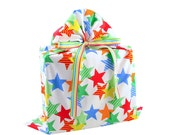 Large Reusable Fabric Gift Bag with Colorful Stars for Birthday, Graduation, or other Celebration