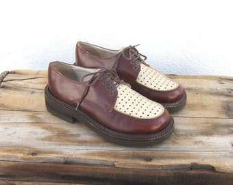 Spectator Brogue Oxfords Perforated Two Tone Brown Shoes Size 6