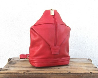 Sling Backpack Knapsack Red Leather Purse