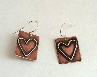 Rustic Copper sterling silver soldered heart earrings