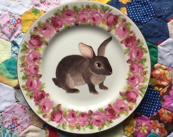Juno Bunny With Rose Floral Vintage Illustrated Plate
