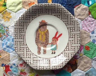 Wicker Border Bear and Bunny Plate Vintage Illustrated Plate