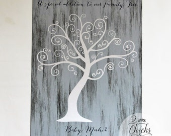 Baby Shower Fingerprint Tree Sign, Guest Book Alternative, Welcome To The World Little One