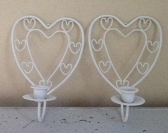Vintage Heart Wall Sconce / Brass Heart / Heart Wall Decor, White Hearts
