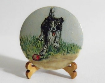 Hand Painted Signed Button Border Collie