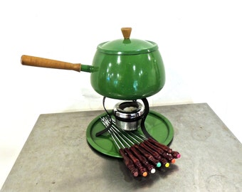 vintage fondue set - 1950s-60s mid century green fondue pot/warmer w/ forks