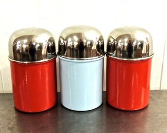 vintage metal canisters - 1950s-60s mid century red/blue lidded canisters set of 3