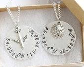 State Coordinate Best Friend Necklace Hand Metal Stamped Best Friend, State to State Jewelry Best Friend Birthday Gift, BFF Gift