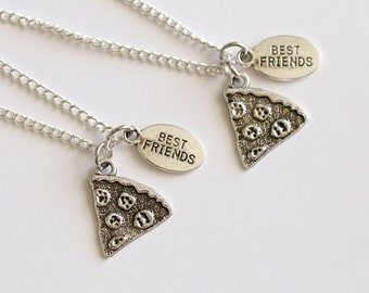 Pizza Friendship Necklace, 2 Best Friend Necklaces, Pizza Jewelry, Pizza Necklace, Food Jewelry, Food Necklaces, Friendship Gift