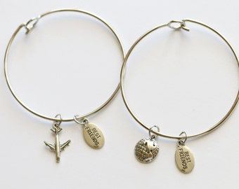 Long Distance Friendship Bangle Bracelets, Best Friend Bangle Bracelets, 2 Bangles, Airplane Bracelet, Planet Bracelet, Bff Gift, Friendship