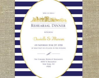 NYC Navy Stripes with Gold; New York City Skyline Rehearsal Dinner invitation with return address printing