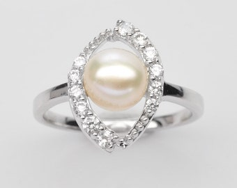 Handmade Natural Gemstone Jewelry, Genuine White Pearl Sterling Silver Ring  FD5C0248 RIS-WPL331