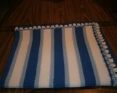 Knit 2 Tone Blue & White Baby Blanket / Afghan / Lapghan With Crochet Trim