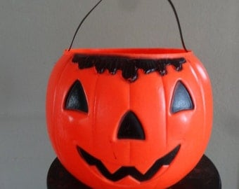 Vintage Trick or Treat Pumpkin Halloween Pail Adorable 1980s or 70's X Large Size