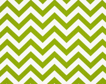 SALE Chevron Fabric by Premier Prints Twill Zig Zag Green Chartreuse - 1 Yard