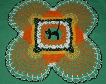 Halloween Cat, skulls and Candy Corn Crochet Doily