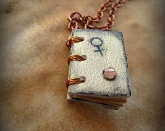 Love Lucky Charm - Venus and Jupiter Mini Book  Necklace  by Dryw on Etsy