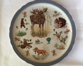 Large Plate Wildlife Scene Woodland Collectible Cabin Decor