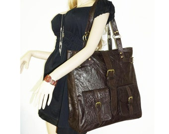 SALE. Extra Large Distressed Leather Tote Handbag Cross-body Bag Orea XXL in deep brown fits a 17 inches laptop