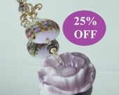 RESERVED NOW 25% Off Lavender Floral Pendant on a Gold Filled Chain featuring ETSY artist FlameOnGlass