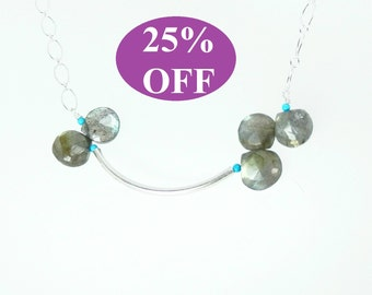 NOW 25% OFF Labradorite Briolettes and Sterling Silver Chain Necklace