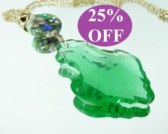 NOW 25% OFF Vintage Green Chandelier Drop and Artist Lampwork Pendant on Gold Filled  Chain