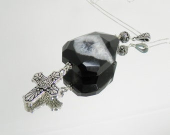 Black Agate Evil Eye and Silver Cross Pendant on Sterling Chain