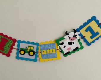 Barnyard Birthday - farm birthday - personalized- custom - photo props - barnyard party - farm party - animal party - High Chair farm banner