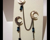 Crescent Moon Chain Aqua Earring Set