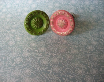 2 Vintage Brass Knobs MidCentury Traditional Your Choice Color Custom Pulls B-33
