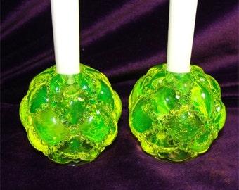 VINTAGE Candle Holders VASELINE Glass