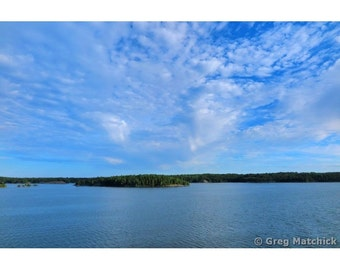 Fine Art Color Photography of Blue Sky and Clouds Over the Archipelago of Sweden