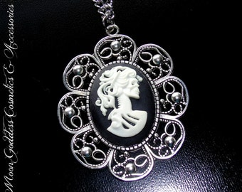 Gothic Style Sugar Skull Cameo Necklace