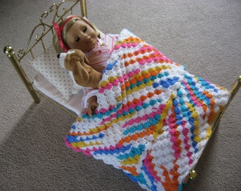 Colorful Crocheted Baby or Doll Afghan