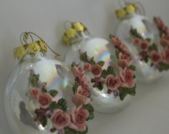 Sale Christmas Ornaments- Handmade Glass Pink Rose Bulbs -Iridescent- Assorted Shapes- Set of 6- Stunning