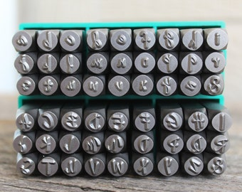 SALE-Jenna Sue Font Metal Stamp Set-COMBO  6mm (1/4)LARGE - Uppercase/Lowercase- Metal Supply Chick-Steel Stamps for Metal