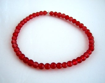 Frosted Red Stretch Bracelet Red Glass Bracelet