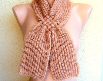 Knit Scarf Cowl Neckwarmer with Glitter and Crochet Flower Scarflette Ready to Ship Gift For Her