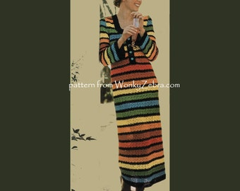 Rainbow Maxi Dress Vintage Crochet Pattern PDF 815 from WonkyZebra