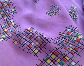 Beautiful large atomic midcentury modern 1950s crepe mondrian style headscarf in purple. Free shipping.