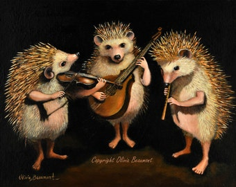 "Hedgehog art - ""The Hoggens Brothers"" - 8x10 photo print"