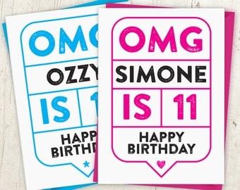 OMG 11th Birthday Speech Bubble Card