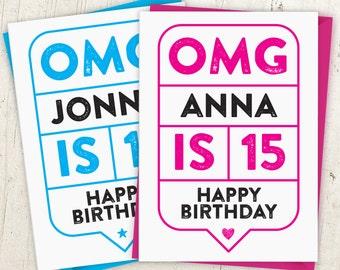 OMG 15th Birthday Speech Bubble Card
