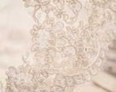 Vintage Wide Pearl French Alencon Lace Swatch Sample