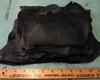 Genuine Cowhide Leather Scraps in Black LSA11