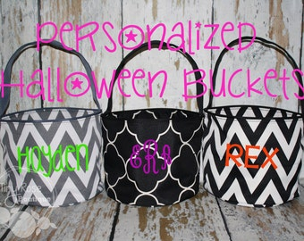 Personalized Halloween Buckets - Trick or Treat Totes - Monogrammed Halloween Bag