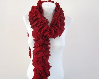 Ruffle Scarves, Knit Scarf, Frilly Neckwarmer, Knitting Red, Lace Accessories, Sashay Women Scarf, Lacy Ruffled, Knitted Scarves