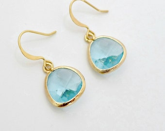 Aqua blue earrings, crystal drop earrings, gold framed blue crystal dangle earrings, delicate everyday jewelry, holidays gift, by balance9