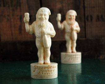 Peerless Amber Beer Gnome Salt and Pepper Set, Vintage Celluloid Plastic, Antique Breweriana